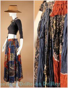 Vintage India Gauze Blue/Orange/Beige Boho by AmericanDrifter