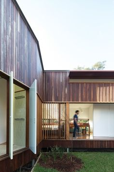 """This new house in Marrickville, Sydney by David Boyle Architect """"feels huge but sits on a relatively small site. Pretty Beach, Courtyard House, Shed, New Homes, Outdoor Structures, Cabin, Windows, House Styles, Houses"""