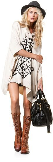 Super cute outfit for an Arizona winter weekend. Love the nod to the poncho in the design of the dress.