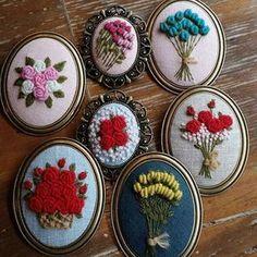 #rose hand embroidery  brooch  #장미자수브로치 #모사브로치
