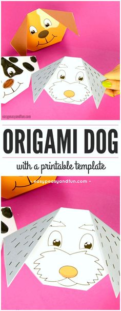 Cute Origami Dog With Printable Template