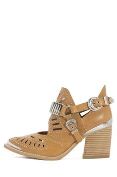 Jeffrey Campbell Calhoun Embellished Western Cut-Out Booties in Tan and Silver