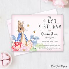 Peter Rabbit Birthday Invitation - First Birthday Invitation - First Birthday Invite - Peter Rabbit Birthday Invite