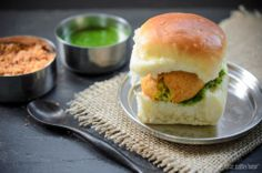 The Tiffin Box: Indian Street Food - Vada Pav (Spicy Potato Patties in a Soft Roll) With Dry Garlic/ Chilli/ Coconut and Cilantro/ Mint Chutney