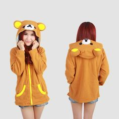 Look cute while wearing this Rilakkuma Hoodie! - This is perfect for any Rilakkuma or Sanrio lovers! - While Supplies Last! Limit 10 Per Order Please allow weeks for shipping due to high demand It Rilakkuma, Kawaii Fashion, Cute Fashion, Looks Kawaii, Kawaii Style, Mode Kawaii, Kawaii Chan, Estilo Lolita, Kawaii Gifts