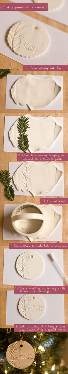 clay ornament tutorial  : One Crafty Place :  onthouden: freubelweb!!! (helaas niet te pinnen)