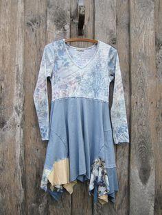 Lagenlook Boho Dress Tunic Tattered Artsy by FreeRangeRags on Etsy, $51.00