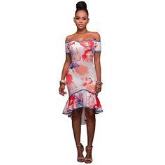 2a0c49bb82a47b Ruffles Hem Mini Dress Slash Neck Off Shoulder Tunic Print Florals Bodycon  Slim Fit Cocktail Club Party Dress Vestidos