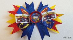 """Hello Kitty """"Girl Power"""" Superhero Spiked Grosgrain Ribbon Hair Clip, Barrette, Red Blue Yellow Bow, Sparkly Glitter, Wonder Woman, Bat Cat by SmoreCrafty on Etsy"""