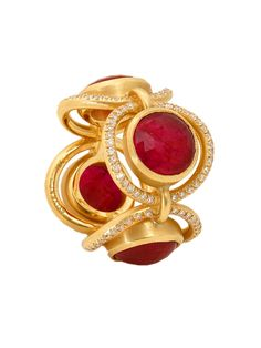 Sylva & Cie 18k Yellow Gold Diamond And Ruby Scarlet Ring. 18k Yellow Gold With Bezel Set Rubies And Pave Diamonds. Total Diamond Weight .75cts.