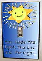 Sample of Light Switch Craft for Day 1 of Creation - God made the light.  This website is FULL of good ideas for Bible Class
