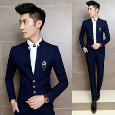 2016 New ᗛ Slim Fit Prom Homme Men Costume Wedding Suits ᑐ Classic Chinese Collar Party Dress Suits Boys Jacket with Pants 2016 New Slim Fit Prom Homme Men Costume Wedding Suits Classic Chinese Collar Party Dress Suits Boys Jacket with Pants Wedding Party Shirts, Wedding Dress Men, Wedding Suits, Wedding Groom, Formal Wedding, Chinese Suit, Chinese Collar, Indian Men Fashion, Mens Fashion Suits