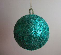 Glitter Ball Ornament Teal Christmas Decoration by jessamyjay, $3.00