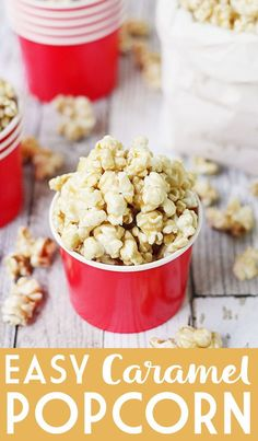 Easy Caramel Popcorn - Who doesn't love a quick, delicious, easy caramel popcorn recipe? The first time you try this easy homemade caramel popcorn, you'll be hooked! #popcorn #caramelpopcorn #halfscratched #caramel #dessert #easyrecipe #sweet