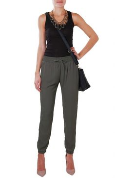 Humble Chic Women's Chandler Slouchy Pant - Silk Track Pants at Amazon Women's Clothing store:
