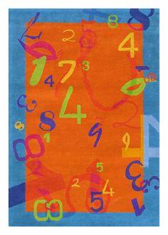 Numbers Rug in Orange and Blue