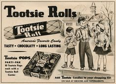 A charmingly illustrated Tootsie Roll ad from 1954 Funny Vintage Ads, Vintage Advertisements, Grocery Ads, Candy Quotes, Pop Ads, Vintage Candy, Vintage Food, Caramel, Favorite Candy