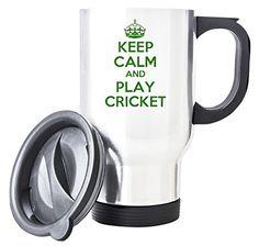 Green Keep Calm And Play Cricket White Travel Mug