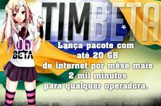 Atualização do Plano TIM BETA terá pacotes mensais, semanais e diárias. ✔ PACOTES MENSAIS custarão 50,00 >> Beta = 10Gb de internet mensal >> Beta Lab = 20Gb de internet mensal >> Beta = 600 minutos >> Beta Lab = 2.000 minutos pra falar com qualquer operadora do Brasil usando o código 41 da TIM.