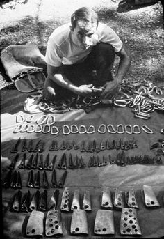Yvon Chouinard setting out his climbing hardware in the 1960′s before a big wall climb in Yosemite National Park.