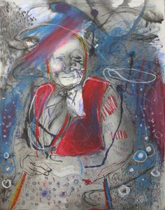 Old Woman / 2012 / acrylic, pastel and ink on paper / 35 x 25 cm by Stefan Venbroek