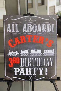 Train Birthday Party Welcome Sign by DesignsofHeather on Etsy