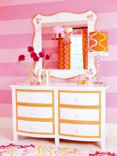 Pink and orange nursery from Better Homes and Gardens.