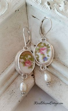 Antique Broken China Jewelry Oval Earrings Pearl, www.RoseBlossomCottage.com, $82 ppd