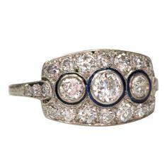 Three Stone Old European Cut Diamond Engagement Ring