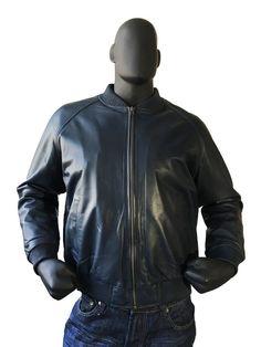 Jakewood Men's Navy Genuine Lambskin Leather Baseball Bomber Jacket, Size M Denim Jacket Men, Bomber Jacket Men, Cool Jackets For Men, Men Closet, Mens Winter Coat, Leather Men, Leather Jackets, Lambskin Leather, Jacket Style