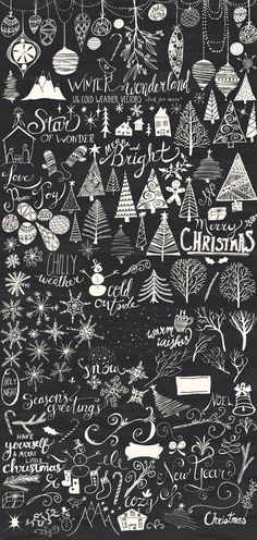 Winter Wonderland Bundle by Alaina Jensen on Creative Market - cards - Chalk Art Christmas Art, Winter Christmas, All Things Christmas, Christmas Doodles, Xmas, Christmas Design, Christmas Lights, Christmas Decorations, Chalkboard Lettering