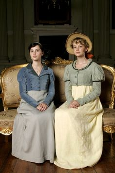 Felicity Jones as Catherine Morland and Carey Mulligan as Isabella Thorpe in Northanger Abbey (2007).