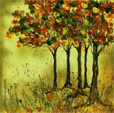 Fall Foliage Art Ideas. step by step paint instructions