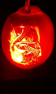 Awesome Spiderman pumpkin carving.