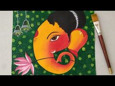 Lord Ganesha Painting for beginners    Cotton swabs Painting technique for background   