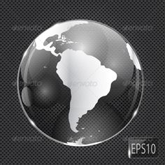 Glass Globe Icon on Metal Background - Vector