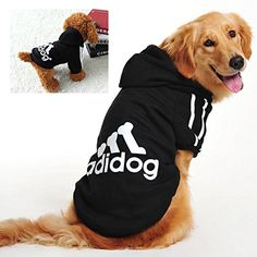 WaWa Super Soft Cotton Pet Hoodie with adidog Printing Black9XL * See this great product.