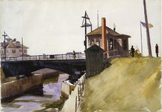 """Blynman Bridge,"" Edward Hopper, watercolor and graphite pencil on paper, 13 × 19 Whitney Museum of American Art. Manet, Edouard Vuillard, American Realism, American Artists, Toulouse, Gundam, Edward Hopper Paintings, John Singer Sargent, Whitney Museum"