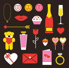 Love and heart themed icons