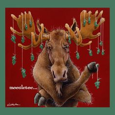 Will Bullas - Moosletoe - Search Gallery One for Bullas limited edition prints, giclee canvases and original paintings by internationally-known artists Boxed Christmas Cards, Christmas Moose, Christmas Animals, Christmas Printables, Christmas Pictures, Xmas Cards, Christmas Time, Vintage Christmas, Christmas Crafts