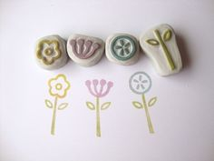 Pretty Little Flowers Hand Carved Rubber Stamp Set