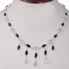 BLACK ONYX & MOONSTONE 925 SOLID STERLING SILVER FANCY NECKLACE 23.09g NK0083 #Handmade #NECKLACE