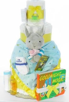 Good Night Moon Diaper Cake- aww this is really cute! The book is a favorite in this house.