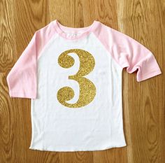Big Sparkle Number Girls Birthday Tee 2nd by SixpencePress on Etsy