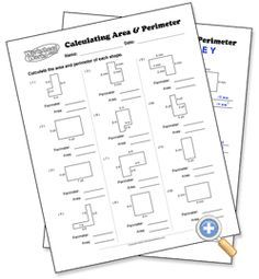 Area And Perimeter Worksheets For Grade Answer Key Area And Perimeter Worksheets, Area Worksheets, Shapes Worksheets, Fifth Grade Math, Sixth Grade, Fourth Grade, Maths Area, Math Measurement, Teaching Math