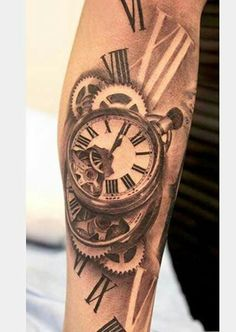 Vintage clock tattoo