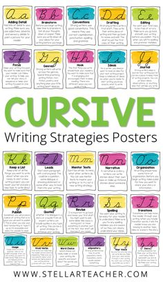 If you teach cursive and are required to display a cursive alphabet in your classroom, then these posters are perfect for you. Each letter of the cursive alphabet connects to a writing strategy or skill. So not only are you teaching your students the letters in the cursive alphabet, but you are also teaching them to become better writers. Cursive Uppercase Letters, Cursive Alphabet, Cursive Handwriting, Alphabet Posters, Teaching Cursive, Teaching Writing, Teaching Tips, Positive Character Traits, 4th Grade Reading