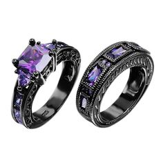 JunXin European Style Purple Amethyst Two Pieces Black Couple Rings for Women Mens(Women Sz5-10,Men Sz5-12)