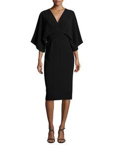 Kimono Stretch-Crepe Dress, Black