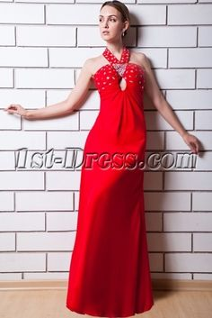 Red Empire Halter Vintage Ladies Evening Dresses with Chiffon Rhinestone Colorful Prom Dresses, Ivory Prom Dresses, Little Girl Pageant Dresses, Prom Dresses For Sale, Women's Evening Dresses, Mermaid Prom Dresses, Homecoming Dresses, Dresses 2013, Graduation Dresses